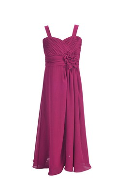 Sleeveless Flowy Dress With Pleats and Flower
