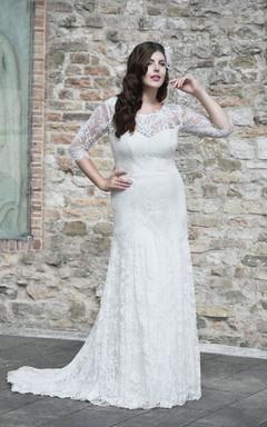 Sheath Long Scoop Neck Half Sleeve Lace Brush Train Illusion Pleats Dress