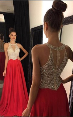 Elegant Red Sleeveless Long Prom Dresses Chiffon With Crystals