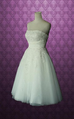 Strapless A-Line Short Wedding Dress With Appliques And Beading