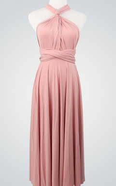 Short Infinity Convertible Bridesmaid Short Bridesmaid Cocktail Nude Pink Wrap Evening Ball Gown Dress