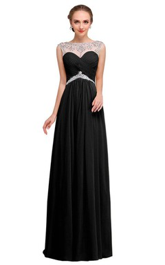 Cap-sleeved A-line Gown With Illusion Neckline