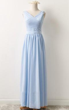 Short Long V-neck Chiffon Dress