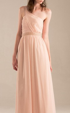 Floor-length One-shoulder Backless Chiffon Dress With Beading