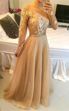Stunning Long Sleeve A-Line Prom Dresses 2016 Long Women's Evening Party Gowns