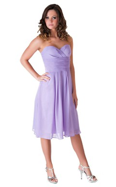 Sweetheart Knee-length Empire Chiffon Dress With Ruffles