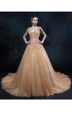 A-line V-neck Sleeveless Backless Tulle Dress