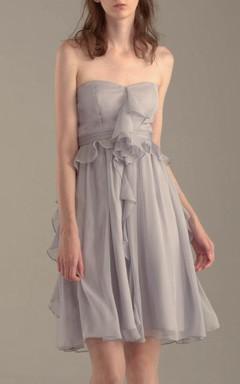 Short Knee-length Strapped Chiffon Dress With Ruffles
