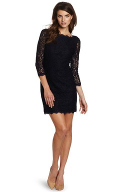 3/4 Sleeved Short Lace Dress With Illusion Sleeves
