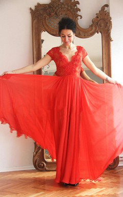 Sheath V-Neck Chiffon Floor-Length Dress With Lace And Pleats