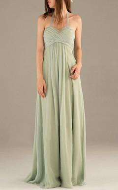Empire Long Halter Strapped Sweetheart Empire Chiffon Dress