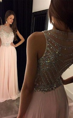 Newest Crystals Chiffon A-line Evening Dress 2016 Illusion Floor-length