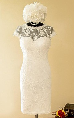 Sheath Mini Sweetheart Cap Sleeve Lace Satin Dress With Illusion Button