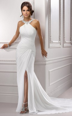Pleated and Backless Slirt Long Chiffon Dress