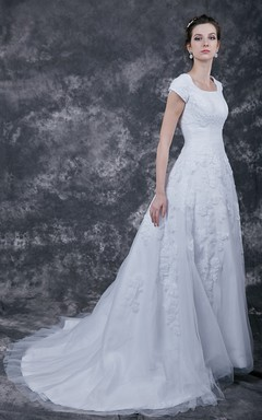 Vintage Style Modest Bridal Gown with Court Train