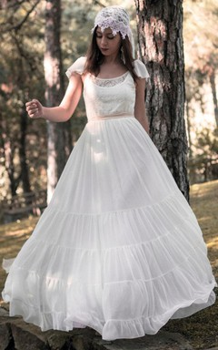 Scoop-Neck Poet-Sleeve Chiffon Wedding Dress With Lace And Bow