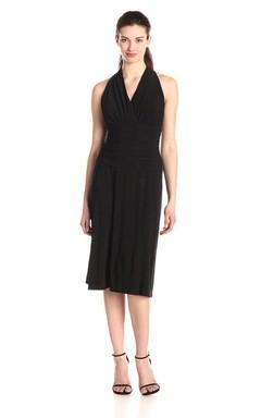 Vibrant V-neck Tea-length Long Chiffon Dress