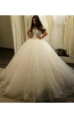 Stunning Sleeveless Tulle Princess Wedding Dress 2016 Sequins Ball Gown