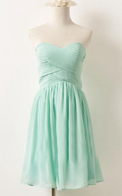 Mini Strapped Sweetheart Chiffon Dress