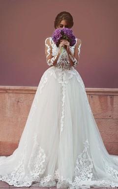 Delicate Tulle Lace Appliques Detached Wedding Dress 2016 Long Sleeve