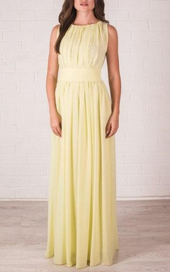 Floor-length Chiffon Dress With Pleats