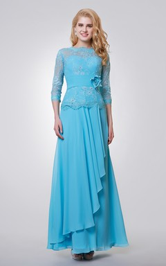 3/4 Length Sleeve Long Chiffon and Lace Dress With Side Draping