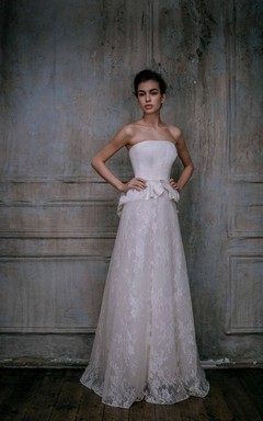Mikado Silk Chantilly Lace Gown Lace Gown In Vintage Style