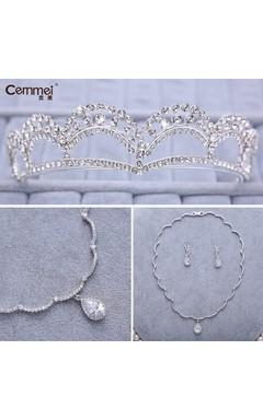 Bride Crown Headdress Zircon Necklace Earrings Three - Piece Set Korean - Style Wedding Dress Accessories