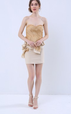 Sweetheart Sheath Mini Dress with Ruffles