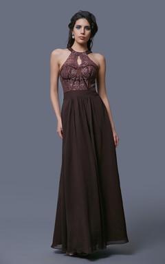 Sleeveless A-Line Chiffon Dress With Keyhole Back and Lace Bodice