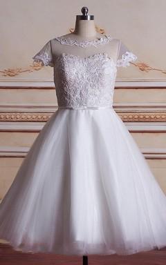 Short Tea-Length Tulle Lace Satin Weddig Dress