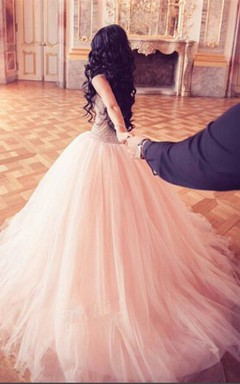 Stunning Crystal Princess Tulle Evening Dresses 2016 Floor Length Sweet 16 Quinceanera Dress