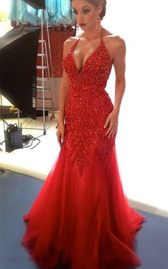 Sexy Beadings Tulle Mermaid Red Evening Dress 2016 Spaghetti Strap