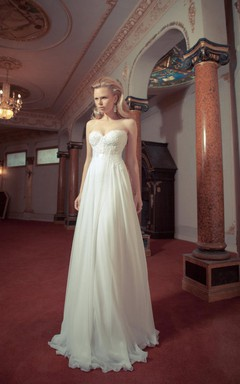 Vintage A-Line Chiffon Wedding Dress With Lace Corset