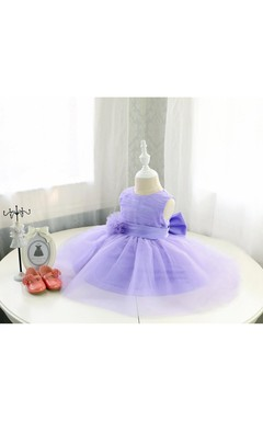 Sleeveless High Neck Ruched Organza Dress With Purple Sash