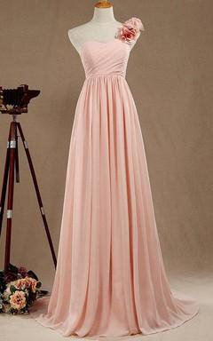 A-line Long One-shoulder Chiffon&Satin Dress
