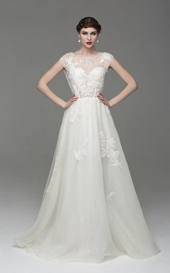Scoop Neck Cap Sleeve A-Line Organza Dress With Appliques