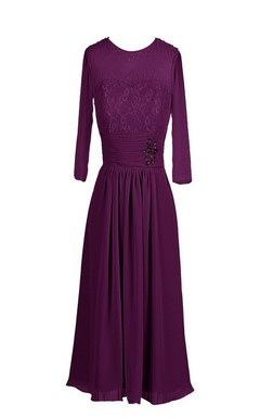 3 4 Sleeve Chiffon Dress With Embroidered Bodice