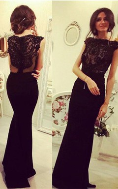 Elegant Black Sleeveless Mermaid Evening Dress 2016 Lace Appliques Beadings