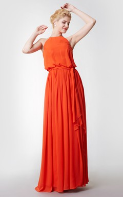 Halter Style Long Chiffon Bridesmaid Dress