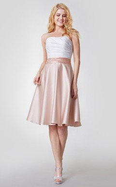 Noble Sleeveless Short Satin Dress With Ruching