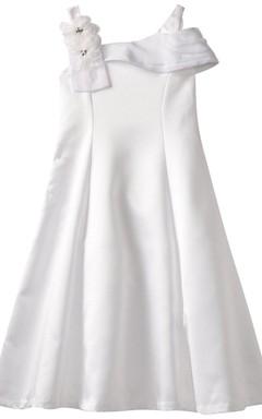 Off-shoulder A-line Dress With Flower on Strap