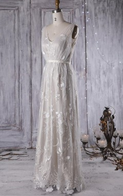 A-Line Floor-Length V-Neck Tulle Lace Dress With Flower Embroideries Low-V Back