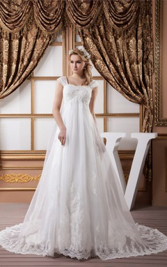 Caped-Sleeve Empire A-Line Gown with Appliques and Beading