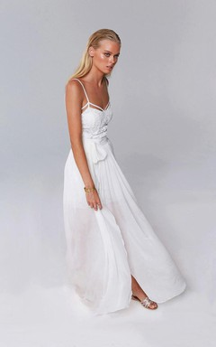 Spaghetti Split Front Chiffon Floor-Length Dress