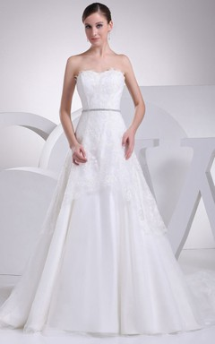 Sweetheart Appliqued A-Line Dress With Beading and Corset Back