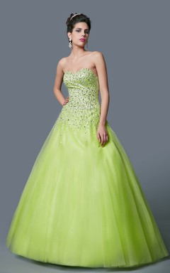 Floor Length Ball Gown Formal Prom Dress with Colorful Beadings