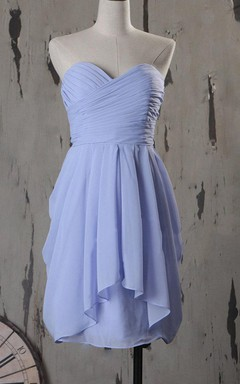 Knee-length Strapped Sweetheart Chiffon Dress