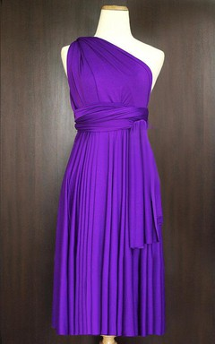 One-shoulder Convertible Bridesmaid Dress With Pleats