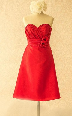 Knee-length Sweetheart Satin&Taffeta Dress